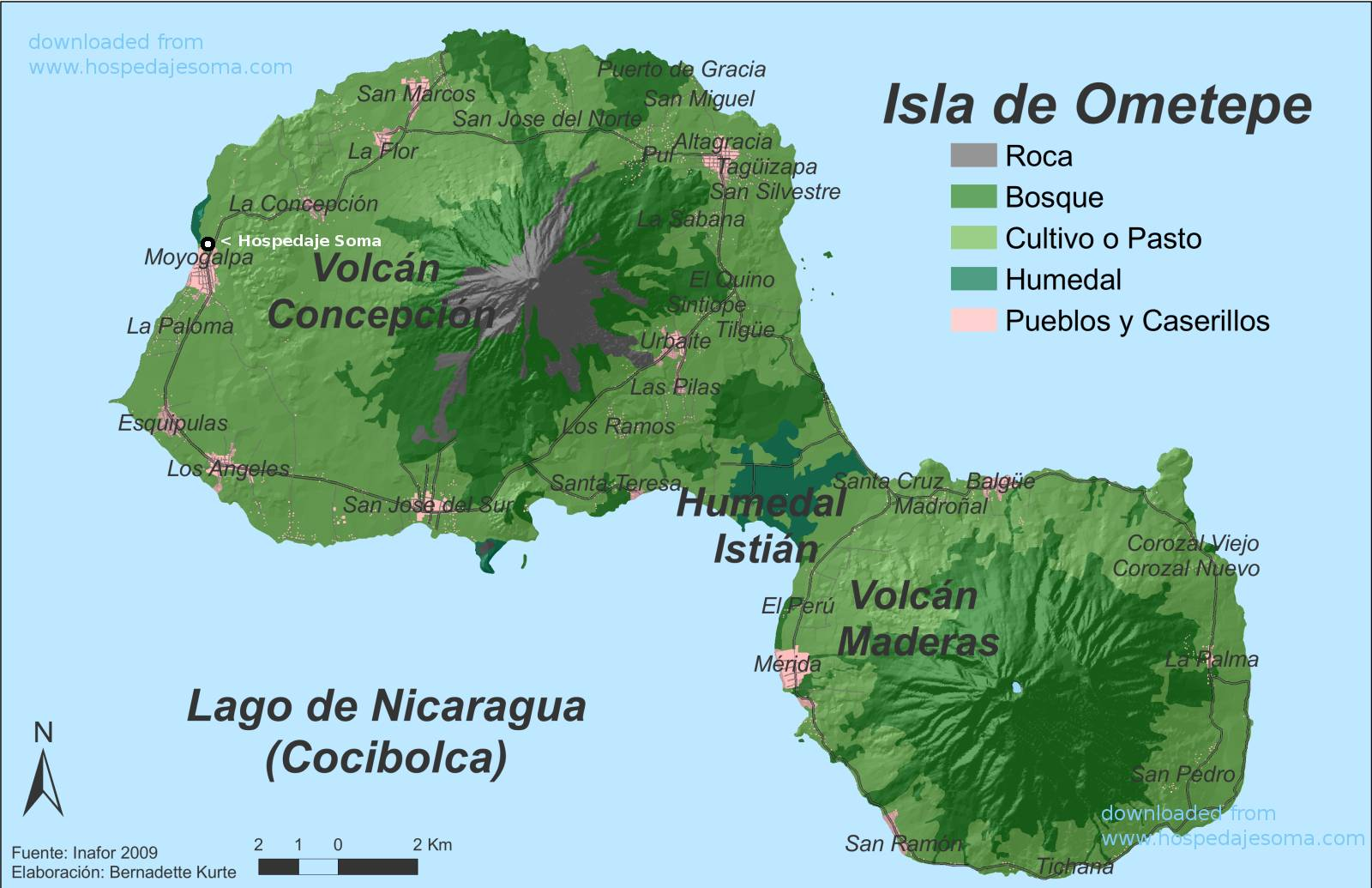 General Information About Ometepe And A Map Of The Island